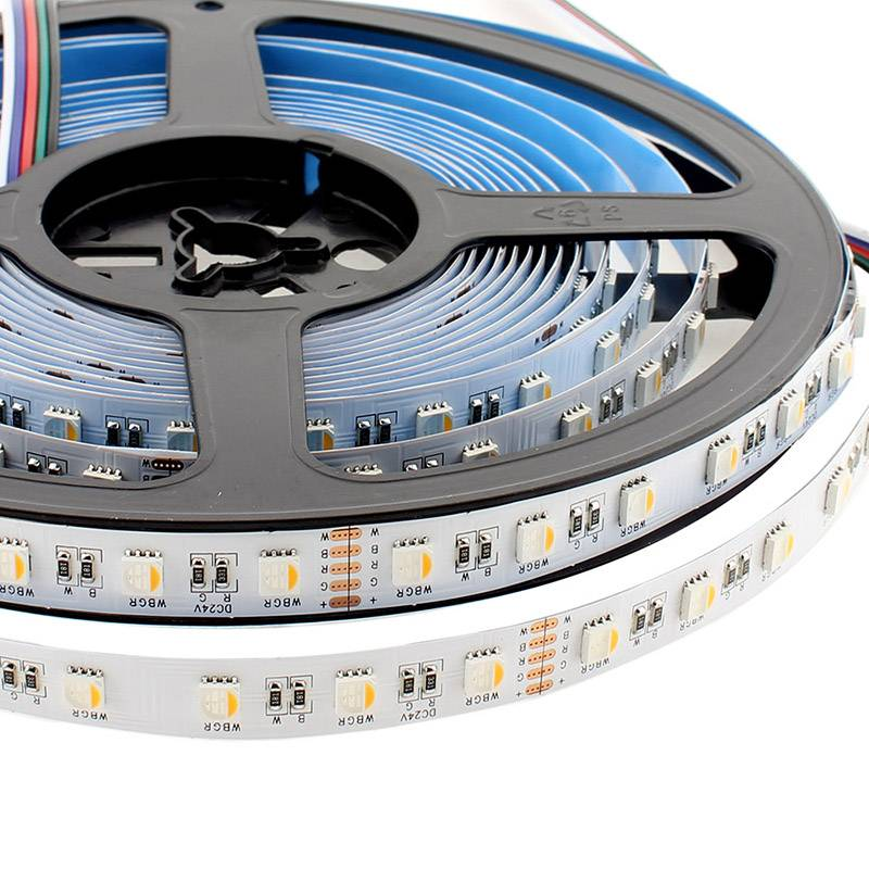 Tira LED EPISTAR SMD5050, RGB+W, DC24V, 5m (60Led/m 4 en 1) - IP20, , Regulable